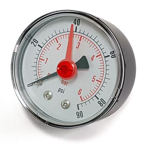 Pressure Gauge - 0-6 bar (90 PSI) - 1/4 inch Back Connection