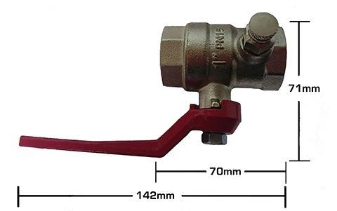 1″ Brass Ball Valve with Drain Plug